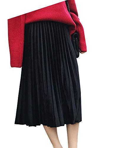 Fashion Yonglan Plisse lastique Jupe Coupe Taille Noir Midi Haute Slim Jupe Taille Jupe Femme gTgvpfqA