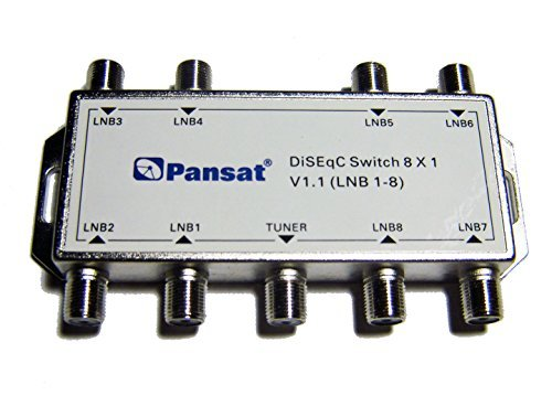 PANSAT 8x1 DiSEqC V1.1 8X1 Multi Switch FTA Cascadable Stackable Connect 8 Sats