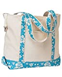 Hyp HY801 16 oz Beach Tote Bag - Natural/Hawaiian Blue Print - OS