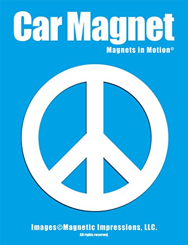 Peace Sign Car Magnet White