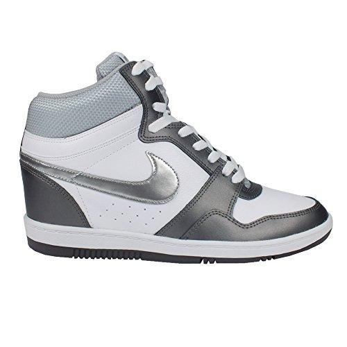 Nike Force Sky High Wedge White/metallic Silver-Metallic Dark Grey Size 8.5 Womens