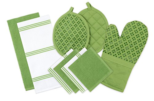 Kitchen Dish 2 Towels (Sticky Toffee Silicone Printed Oven Mitt & Pot Holder, Cotton Terry Kitchen Dish Towel & Dishcloth, Green, 9 Piece Set)