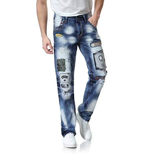 Patch Moda Stile Colorazione Ragazzi Sfumatura Hip Lunghi Da Pantaloni Uomini Buco hop Classiche Colour Strappati Jeans Uomo 6qvx5O