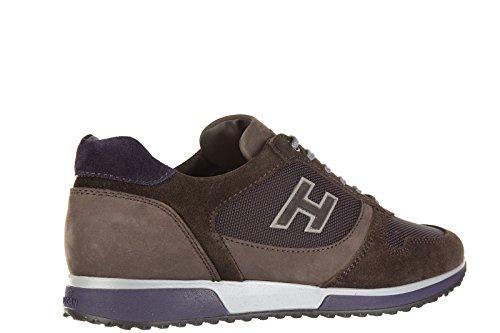 Hogan chaussures baskets sneakers homme en daim interactive h flock marron