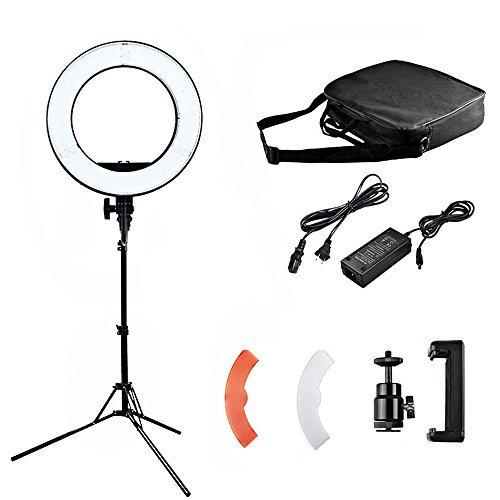 14-inch LED Outer Dimmable Ring Light Kit (45W 3200K/5500+300K) with 70-inch Light Stand - Plastic Color Filter - Phone Holder & Carrying Bag for YouTube Video Shooting Makeup Camera Smartphone Vlog