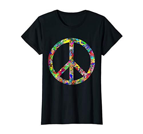 Female Sign Women T-shirt - Womens Peace Sign T-Shirt Small Black