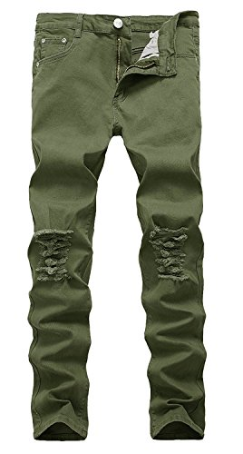 Upreface Men's Stretch Slim Fit Destroyed Ripped Holes Denim Pants Skinny Jeans, Army Green, - Denim Green Jeans