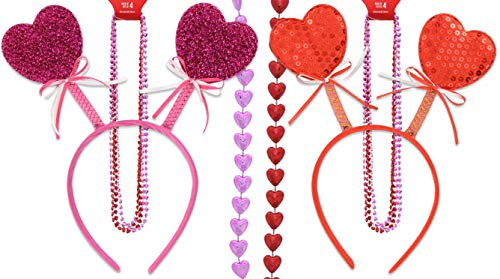 2 Valentine Heart Head Bopper Headbands Plus 8 Beaded Necklaces Party Wear Supplies Bundle of 4 Pink, Red