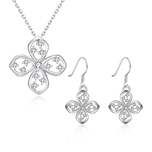 Jewelry Sets Flower Shaped Necklace Dangle Earrings Platinum Plated Inlaid Rhinestone Romantic