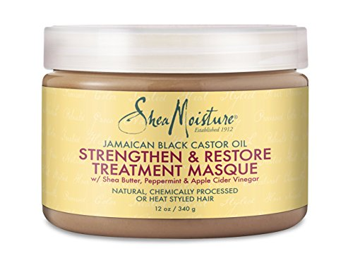 Shea Moisture Jamaican Black Castor Oil Strengthen & Restore Treatment Masque, 12 oz. (Shea Butter Hair Oil)