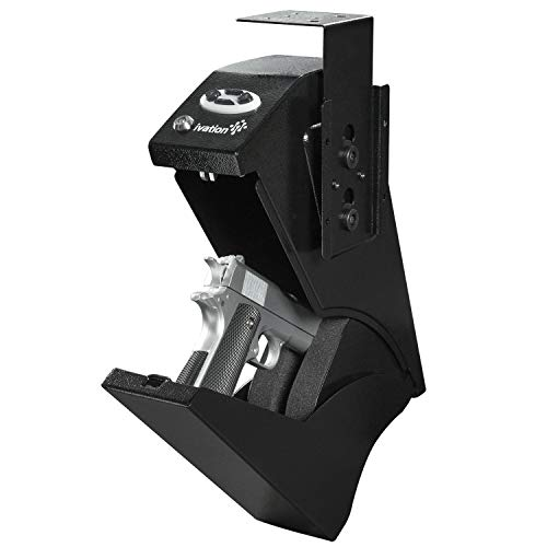 Ivation Quick Access Under-Desk Gun Safe with Keypad – Concealed, Secure Firearm Storage for Home, Office & Jobsite, 2 Backup Keys Included