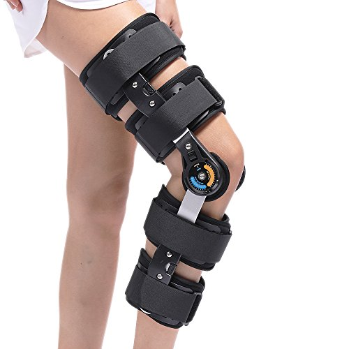 Hinged Knee Brace ROM Knee Immobilizer Brace Leg Braces Orthopedic Patella Knee Brace Knee Immobilizer Brace Support Orthosis, Adjustable for Left Leg and Right Leg, Black