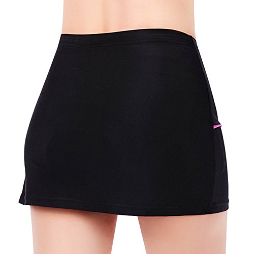 Ladies-Bike-Running-Athletic-Short-Skirt-Black-L-Waist295-32