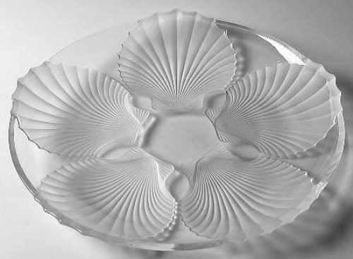 15'' Frosted Shell Platter Plate by Gorham Clear Glass