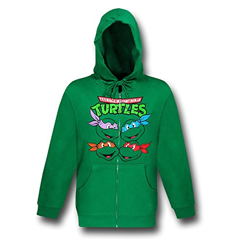 (TMNT Turtle Faces Zip-Up Green Hoodie-)