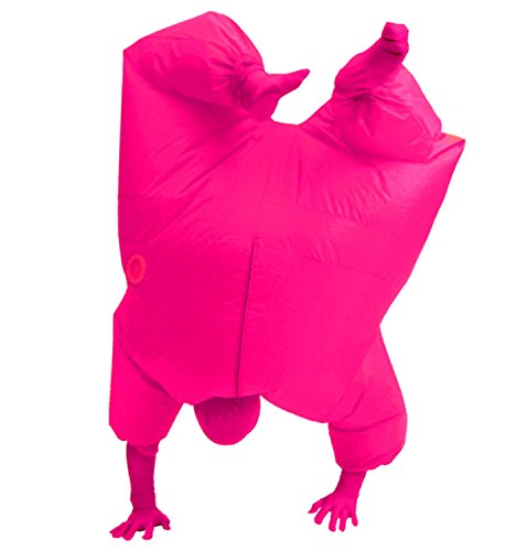 Inflatable Full Body Jumpsuit Cosplay Costume Halloween Funny Fancy Dress Blow Up Party Toy (Pink) (Inflatable Suit)