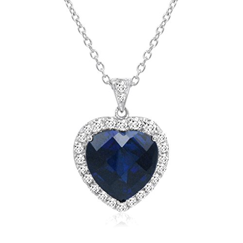 Amanda Rose Collection Sterling Silver Heart of The Ocean Created Blue and White Sapphire Pendant-Necklace (12ct tw) -