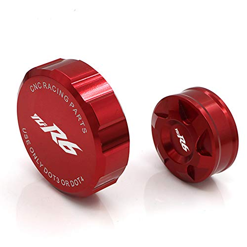 (crazy sport Front Rear Brake Fluid Reservoir Cover Cap For YAMAHA YZF YZFR6 YZF-R6 2017 Motorcycle Accessories CNC With Logo (Red))