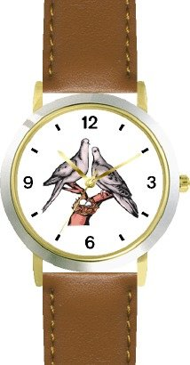Lovebirds or Love Birds - Love & Friendship Theme - WATCHBUDDY DELUXE TWO-TONE THEME WATCH - Arabic Numbers - Brown Leather Strap-Women's Size-Small by WatchBuddy