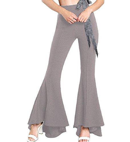 Abetteric Women's Elastic Vogue Slim Long Solid-Colored Flare Bottom Pants Grey M