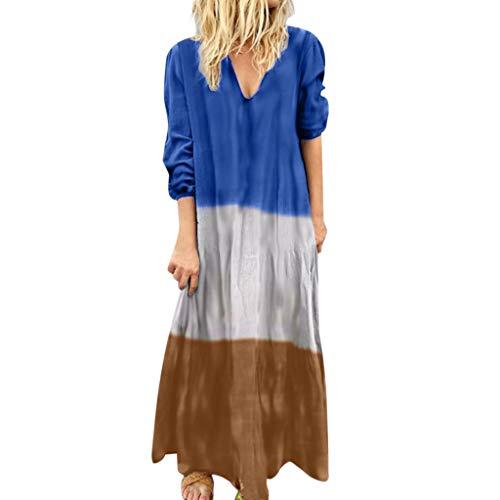 (GDJGTA Dress for Womens Sexy V-Neck Sling Fashion Dress Gradient Color Dress Long Dress Blue)