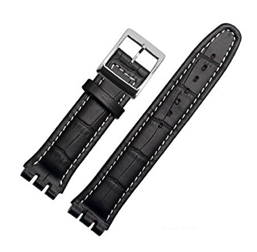 Compatible 19mm (22mm) Black Croco Aligator Watch Strap with White Stitching Fits Swatch Watches Replacement Strap