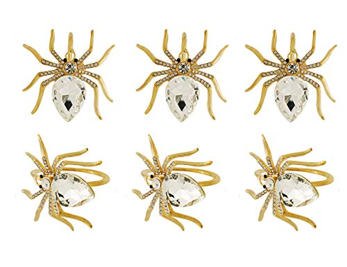 LuReen Gold Spider Napkin Rings Set of 6 for Home Kitchen Dining Room Table,Great for Wedding,Party,Gift (Gold Spider)]()