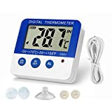 Fridge Freezer Thermometer Max/Min Memory Refrigerator Thermometer High & Low Temperature Alarms Settings with LED Indicator Fridge Thermometer with Magnetic,Stander,Velcro Nithing