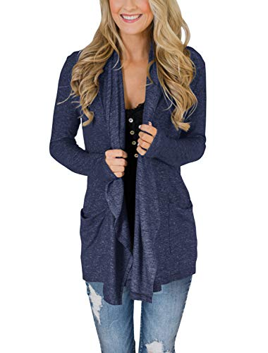 PRETTODAY Women's Long Sleeve Loose Cardigans Basic Drape Front Open Kimono Tops with Pockets ()
