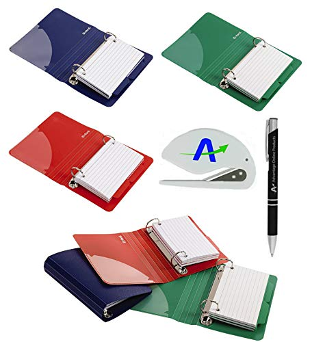 6 Pack Oxford Poly Index Card Binders, 3 x 5 Inches, Includes 50 Pre Punched Cards Per Binder (73569) Plus Bonus AdvantageOP Custom Pen and Letter Opener