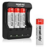 Circuit City USB AA Battery Charger with 4 NiMH Rechargeable AA Batteries Convenient USB Charging Input 4 Slots Portable Travel-Friendly Design