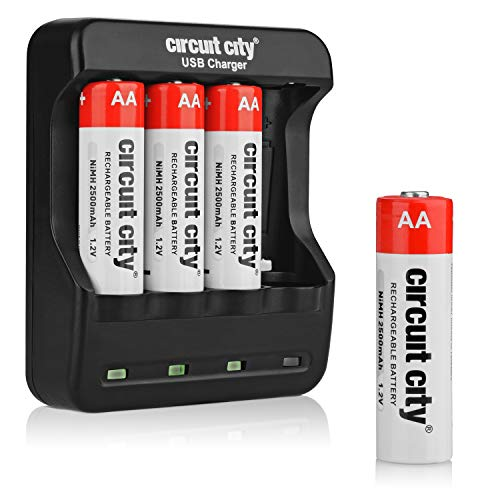 Circuit City USB AA Battery Charger with 4 NiMH 2500mAh Rechargeable AA Batteries Convenient USB Charging Input 4 Slots Portable Travel-Friendly Design