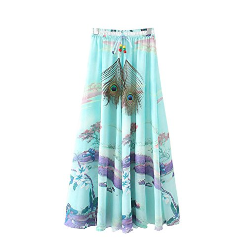 Skirt t Maxi Long Kaxuyiiy Maxi de Ciel Plisse Fleur Papillon Femmes Lotus Bleu lastique Taille Plage Jupe fte Longue bohmien qqvawRx6