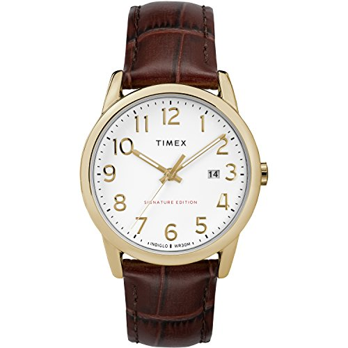 (Timex Men's TW2R65100 Easy Reader Signature 38mm Brown/Gold-Tone Leather Strap Watch)