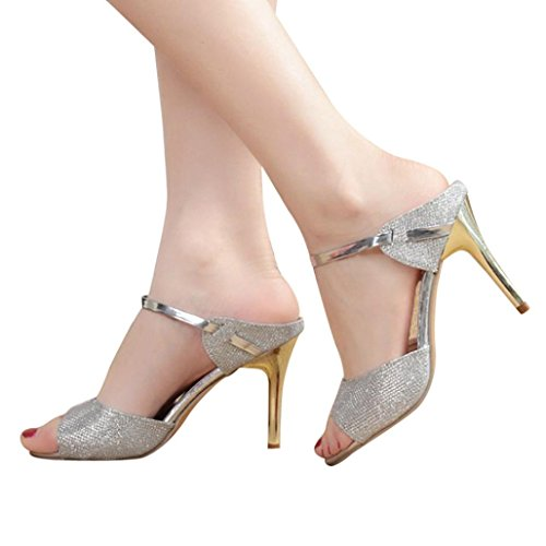 (Baigoods Fashion Women Ladies Thin Heels Sandals Ankle High Heels Bling Metal Block Party Open Toe Shoes (US:5.5, Sliver) )