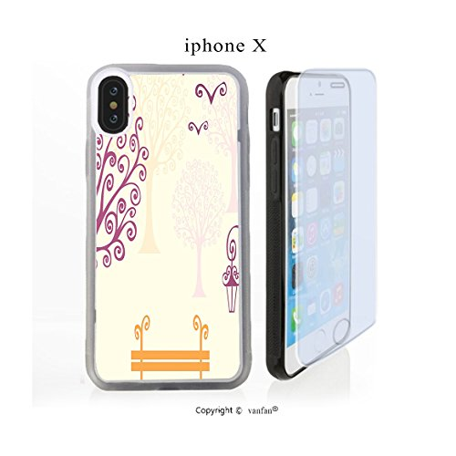 iPhone X Case, vanfan iphone X/10 Case-ature Picture Curving Lines Seagulls Bench A(transparence) Design Hard PC Back Protective Cover Skin Case For Apple iphone X-iPhone X Screen Protector Gift - Curving Lines