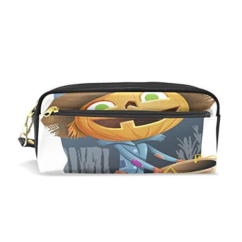 MUOOUM Scarecrow Pumpkin Halloween Pencil Case for Kids Pen Box Pouch Case Makeup Cosmetic Travel School Bag -