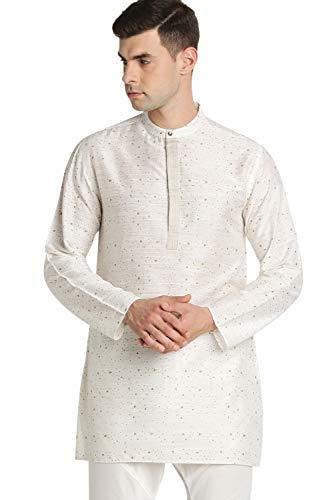 - Shatranj Men's Indian Band Collar Mid-Length Tunic Kurta Space Dobby Print, Off-White, LG