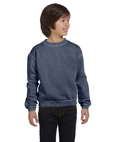 Authentic Pigment 11561Y Youth Pigment-Dyed Fleece Crew-Denim-Small