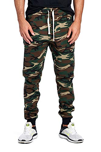 - ProGo Men's Joggers Sweatpants Basic Fleece Marled Jogger Pant Elastic Waist (Large, Forest Camouflage)