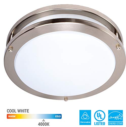 (KOR 14-Inch LED Ceiling Light Fixture - 21W, 1500lm, 4000K (Cool White Color) Dimmable Light Energy Efficient and Easy Installation - Ideal for Living Room Bedroom Kitchen Hallway)