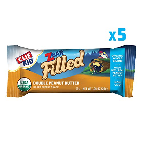CLIF KID ZBAR FILLED – Organic Energy Bar – Double Peanut Butter – (1.06 Ounce Snack Bar, 5 Count) (Packaging May Vary)