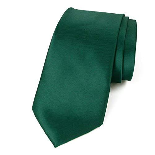 Spring Notion Men's Solid Color Satin Microfiber Tie, Regular Emerald -