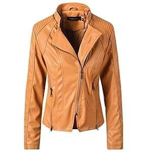 Yshaobinggva Women's Leather Jacket Retro Slim Leather Jacket Casual Motorcycle Leather Jacket (Color : Yellow, Size : XL)
