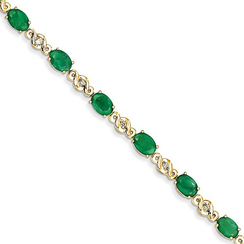 ICE CARATS 14k Yellow Gold Diamond Green Emerald Bracelet 7 Inch Gemstone Fine Jewelry Gift Set For Women Heart by ICE CARATS (Image #4)