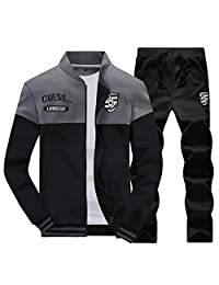 BYWX Men Long Sleeve Full Zip Fleece Tracksuit Jogging Sweatsuit Activewear