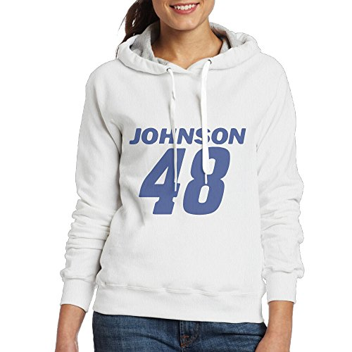 Jimmie Johnson 48 Womens Pullover Hooded Hoodie Sweatshirt White ()
