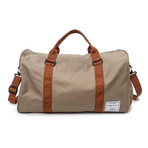 Raku Canvas Duffle Bag for Travel, Duffel Overnight Weekend Bag Khaki. ()