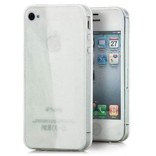 Saxonia Silikon Schutzhülle + Displayschutzfolie für Apple iPhone 4 & 4S Hülle Ultra Slim Case Handyhülle Transparent