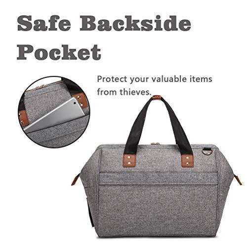HaloVa Diaper Bag, Baby Nappy Tote, Trendy Travel Maternity Handbag, Large Toddler Nursing Shoulder Crossbody Bag, with Shoulder Strap and Insulated Milk Bottle Bag, Light Gray